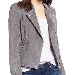 BlankNYC Suede Moto Jacket in Silver Screen